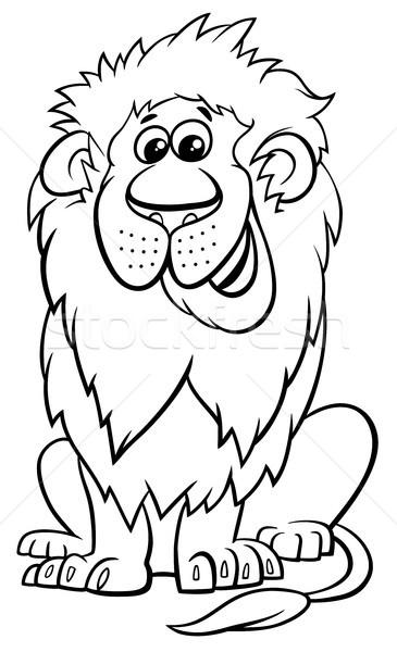 Aslan Hayvan Karakter Karikatür Boyama Kitabı Siyah
