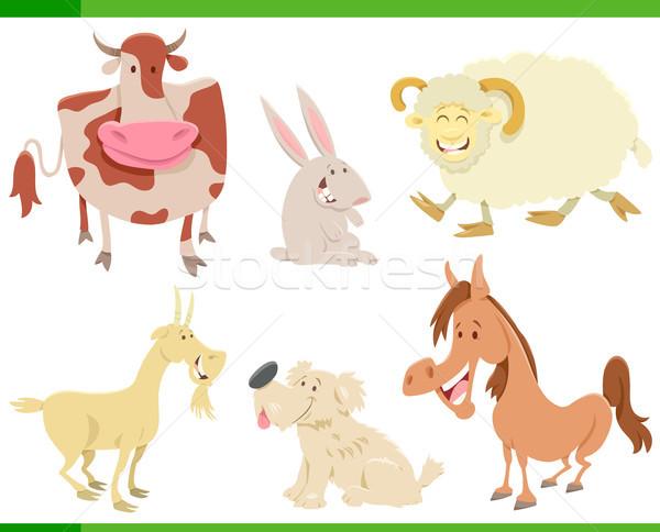 cartoon happy farm animal characters set Stock photo © izakowski
