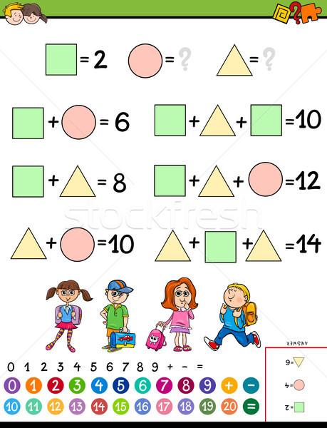 Matemáticas cálculo educativo juego ninos Cartoon Foto stock © izakowski
