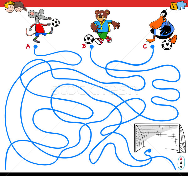 paths maze game with animals playing soccer Stock photo © izakowski