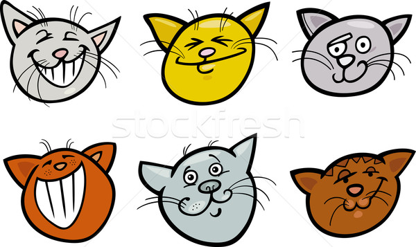 Cartoon funny cats heads set Stock photo © izakowski