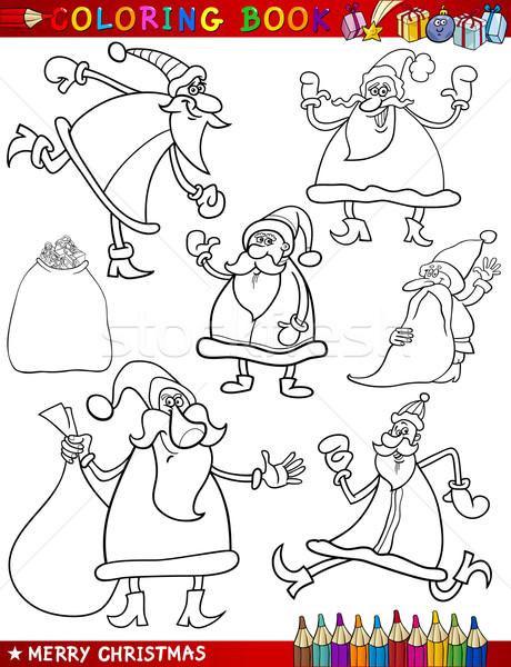 cartoon christmas themes for coloring book Stock photo © izakowski