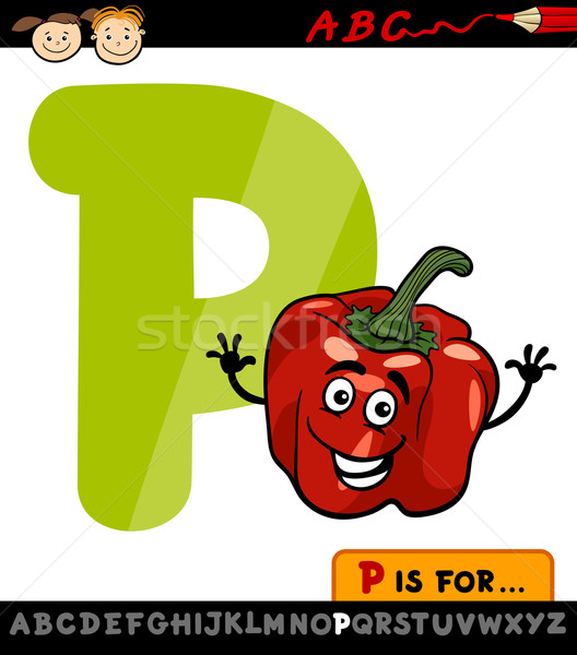 letter p with pepper cartoon illustration Stock photo © izakowski
