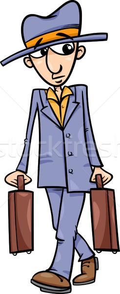 man with suitcases cartoon illustration Stock photo © izakowski