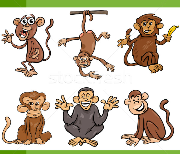 monkeys cartoon set illustration Stock photo © izakowski