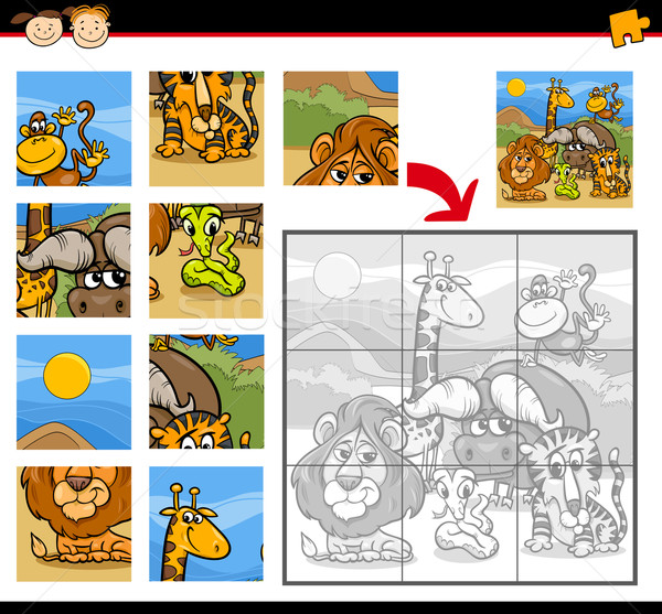 Safari dieren spel cartoon illustratie onderwijs Stockfoto © izakowski