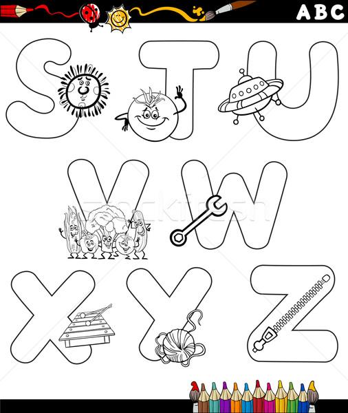 Desenho animado alfabeto página preto e branco ilustração cartas Foto stock © izakowski
