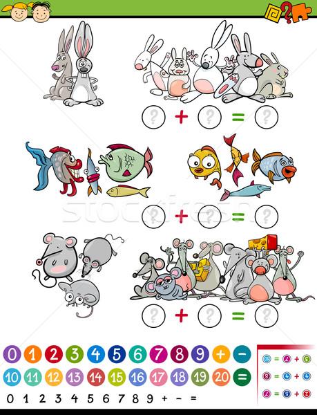 Rajz matematikai játék illusztráció oktatás óvoda Stock fotó © izakowski
