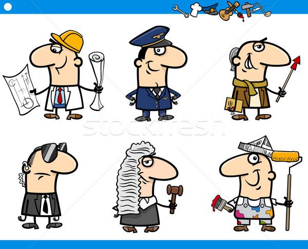 cartoon occupations characters set Stock photo © izakowski