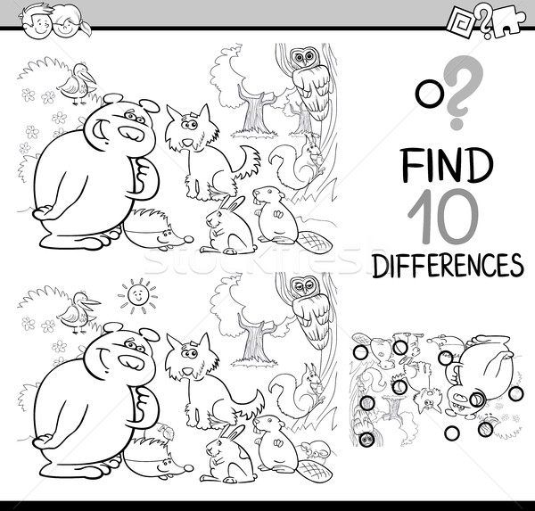 differences game coloring page Stock photo © izakowski