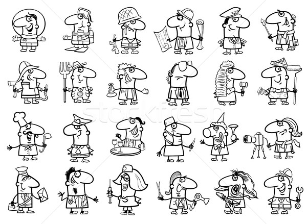 occupations set coloring page Stock photo © izakowski