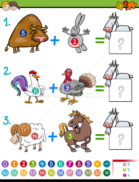 addition educational task for kids Stock photo © izakowski