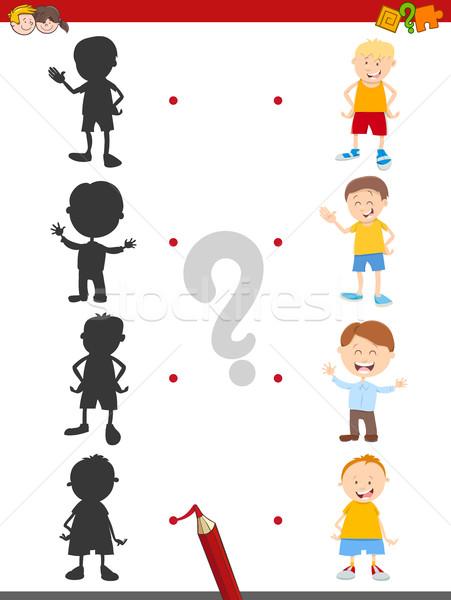 shadow activity game with boys Stock photo © izakowski