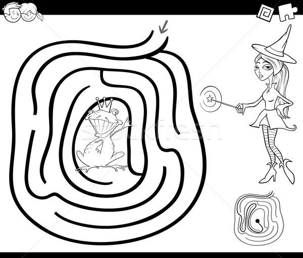 Cuento de hadas laberinto página blanco negro Cartoon ilustración Foto stock © izakowski