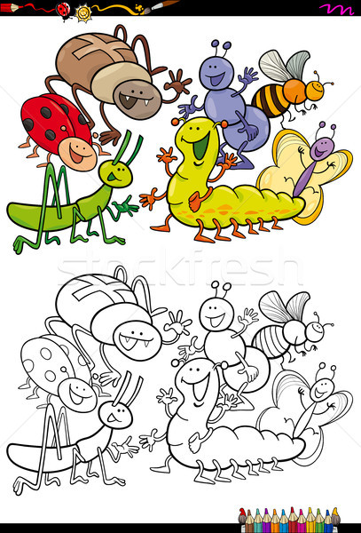 insect characters group coloring book Stock photo © izakowski