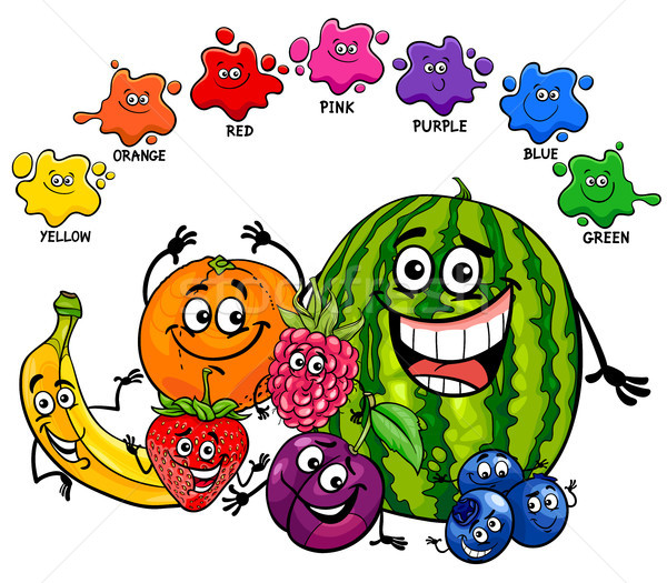 Básico colores educativo página frutas Cartoon Foto stock © izakowski