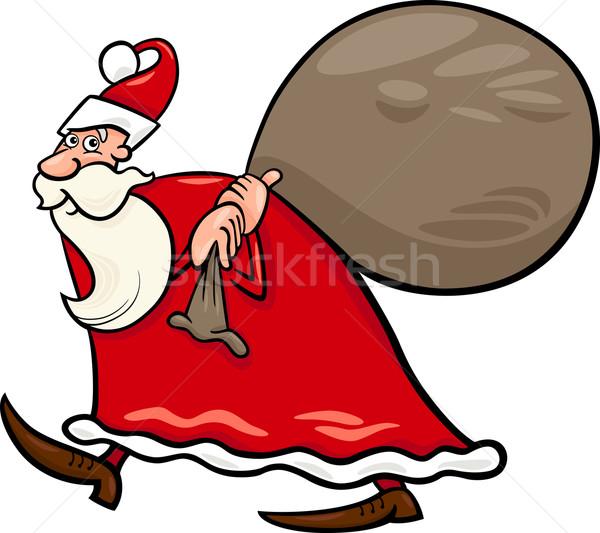 santa claus with sack cartoon illustration Stock photo © izakowski
