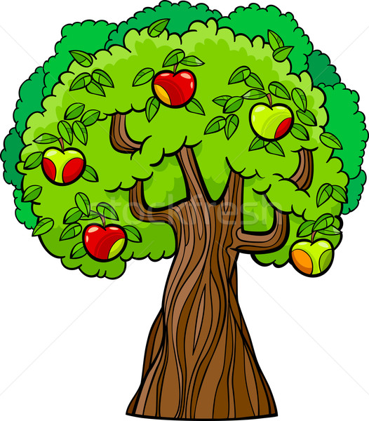 Appelboom cartoon illustratie sappig appels boom Stockfoto © izakowski