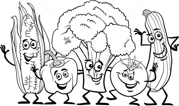 Stock Photo Vector Illustration Black And White Cartoon Of Happy Vegetables Food Characters Group For Coloring Book