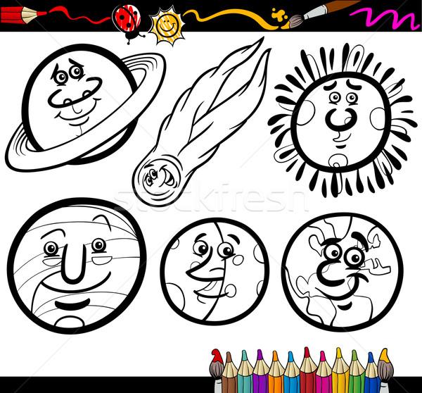 Karikatür Gezegenler Sayfa Boyama Kitabı örnek Siyah
