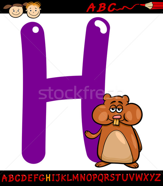 H betű kaméleon rajz illusztráció nagybetű ábécé Stock fotó © izakowski