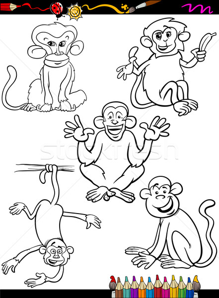 cartoon monkeys coloring book Stock photo © izakowski