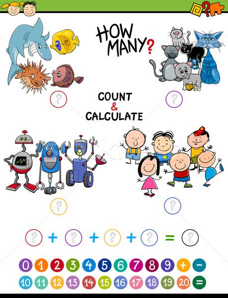 Math attività bambini cartoon illustrazione educativo Foto d'archivio © izakowski