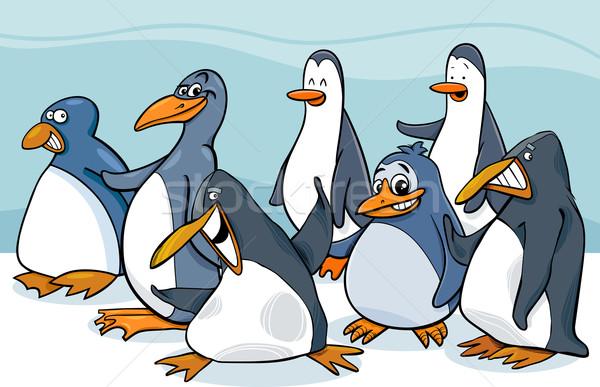 Grup karikatür örnek kuşlar hayvan Stok fotoğraf © izakowski