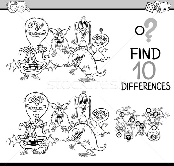 Foto d'archivio: Differenze · attività · bianco · nero · cartoon · illustrazione