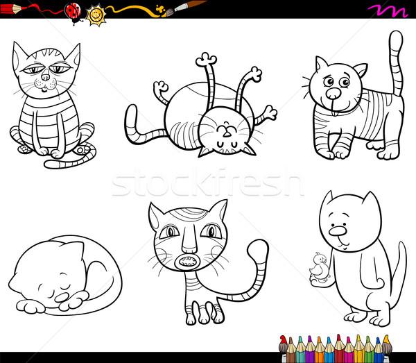 Kedi Boyama Kitabı Siyah Beyaz Karikatür örnek Vektör