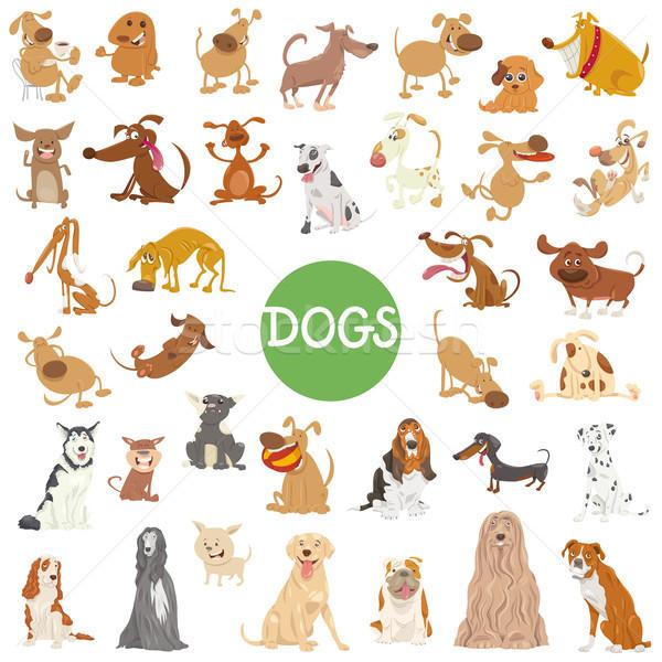 Сток-фото: Cute · собака · большой · набор · Cartoon