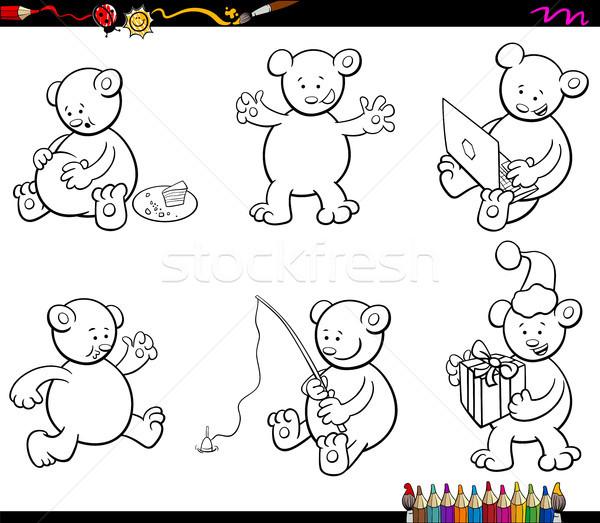 cartoon bear characters set coloring book Stock photo © izakowski
