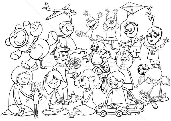 crianças grupo livro para colorir preto e branco