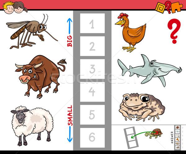 biggest and smallest animal educational cartoon Stock photo © izakowski