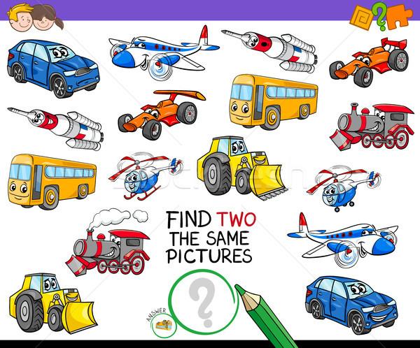 Encontrar dois veículos atividade jogo desenho animado Foto stock © izakowski