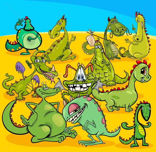 cartoon dragons fantasy characters group Stock photo © izakowski