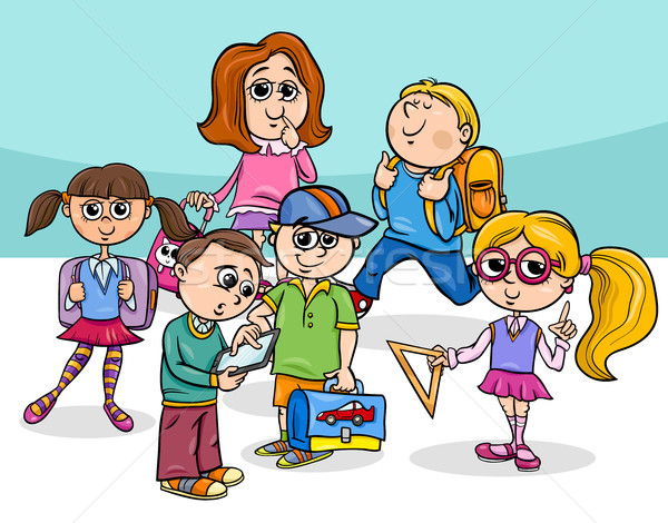 Cartoon escuela primaria ninos grupo ilustración estudiantes Foto stock © izakowski