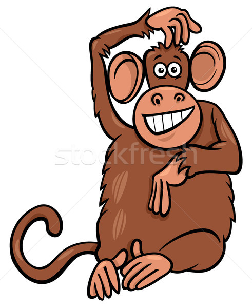 funny monkey animal character cartoon illustration Stock photo © izakowski