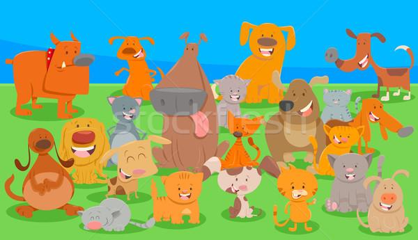 dogs and cats cartoon characters group Stock photo © izakowski