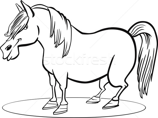 Cartoon pony horse coloring page Stock photo © izakowski