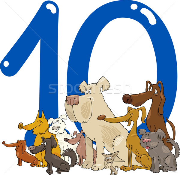 Nombre dix 10 chiens cartoon illustration Photo stock © izakowski