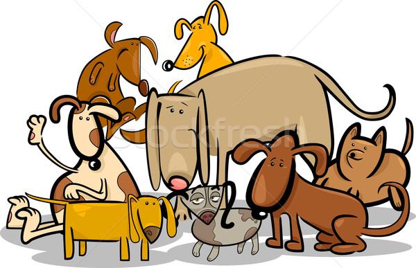 desenho animado grupo engraçado cães ilustração filhotes