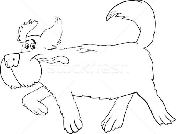 работает овчарка Cartoon черно белые иллюстрация смешные Сток-фото © izakowski