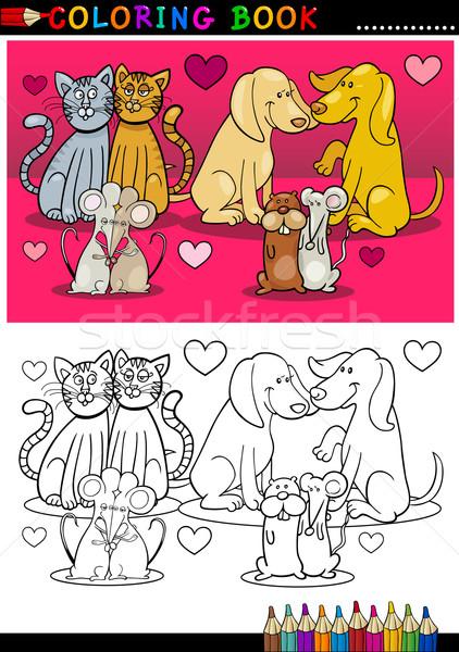 állatok szeretet rajz kifestőkönyv valentin nap témák Stock fotó © izakowski