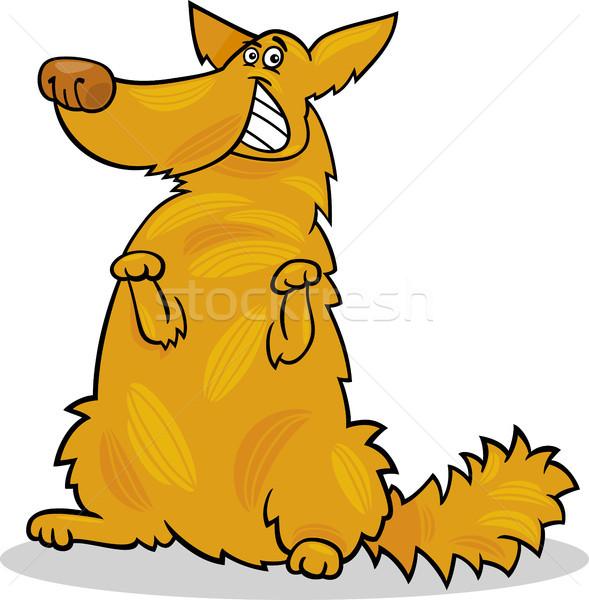 Stock photo: happy yellow shaggy standing dog