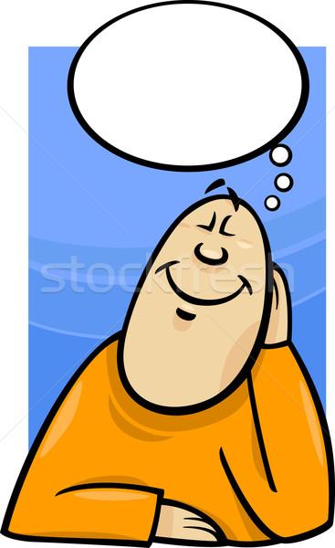 мечтатель Cartoon иллюстрация счастливым человека лице Сток-фото © izakowski