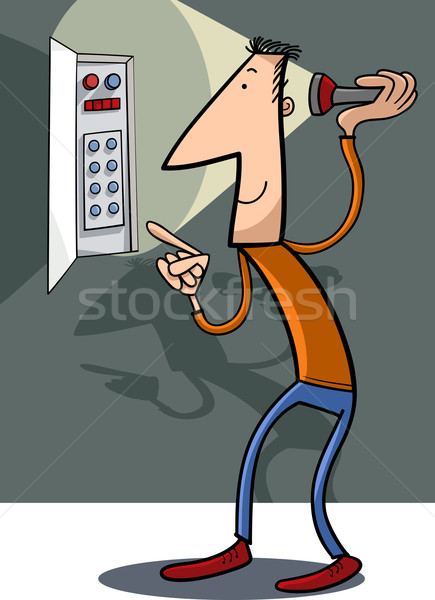 man fix electricity cartoon illustration Stock photo © izakowski