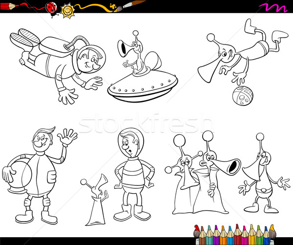 aliens cartoon coloring page Stock photo © izakowski