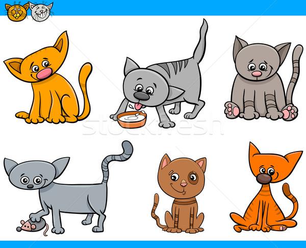 Foto stock: Gatos · Cartoon · establecer · ilustración · gatitos