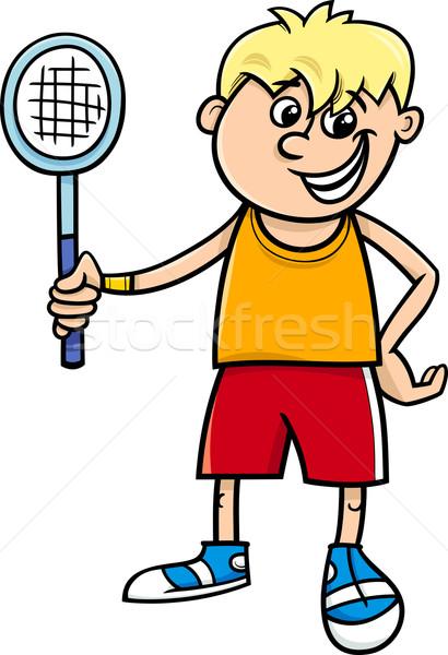 Fiú teniszütő rajz illusztráció aranyos boldog Stock fotó © izakowski